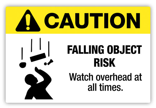 Caution - Falling Object Risk Label