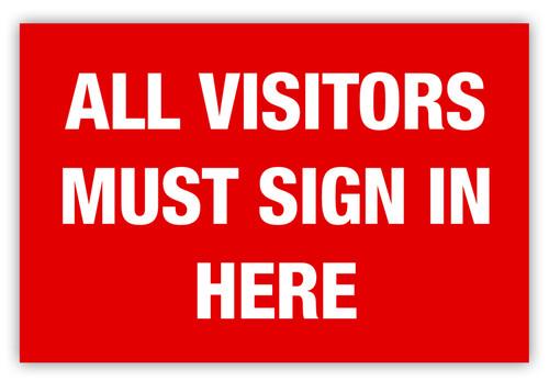 Visitors Sign In Label