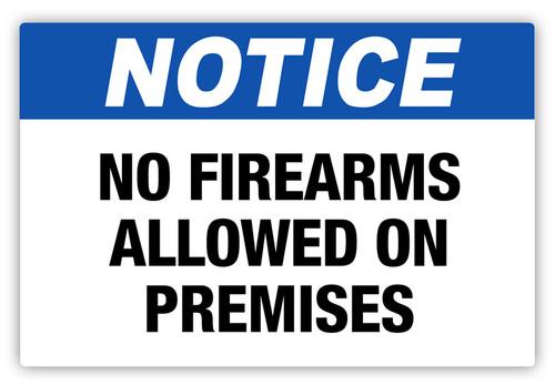 Notice - No Firearms Label