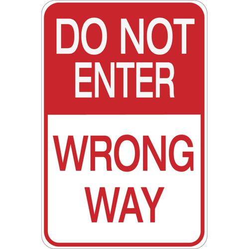do not enter wrong way aluminum sign
