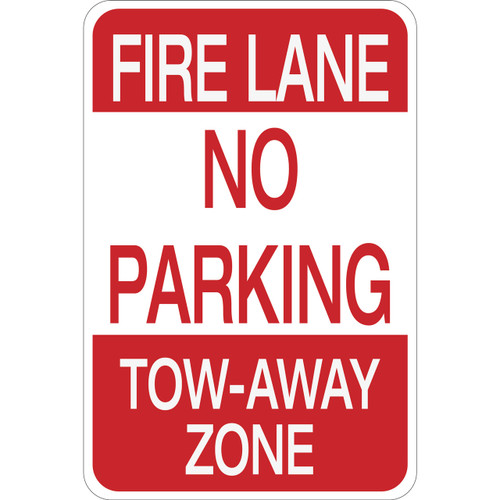 Fire Lane No Parking Tow-Away Zone - Aluminum Sign