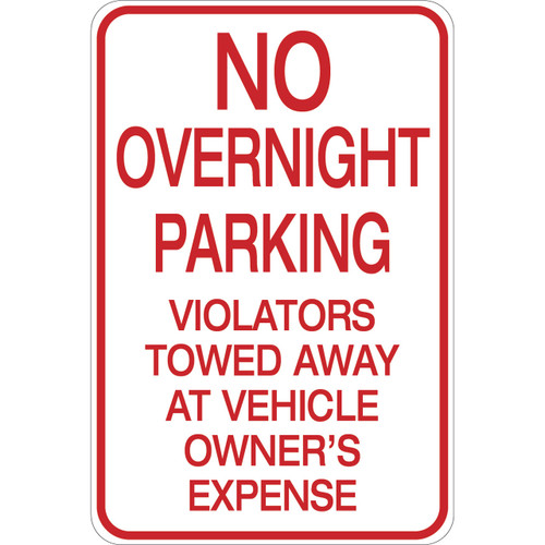 No Overnight Parking - Aluminum Sign