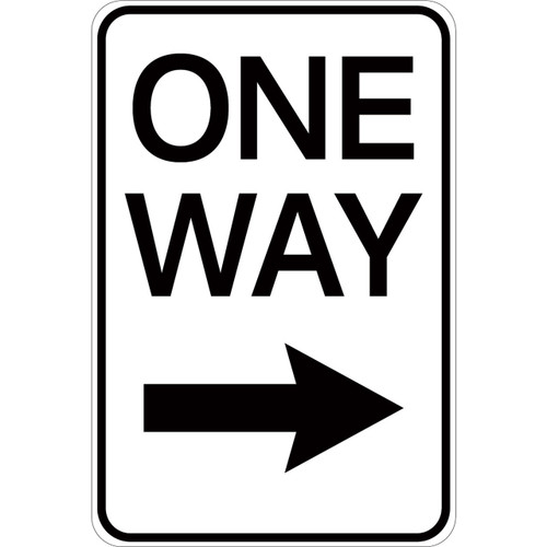 One Way (with right arrow) - Aluminum Sign