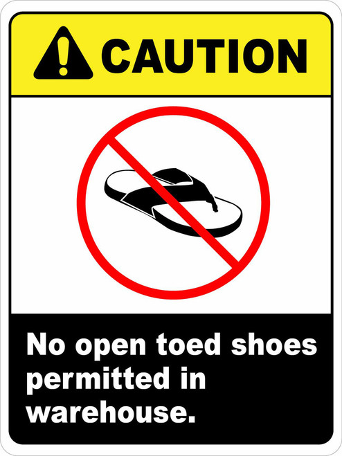 ANSI Caution No Open Toed Shoes