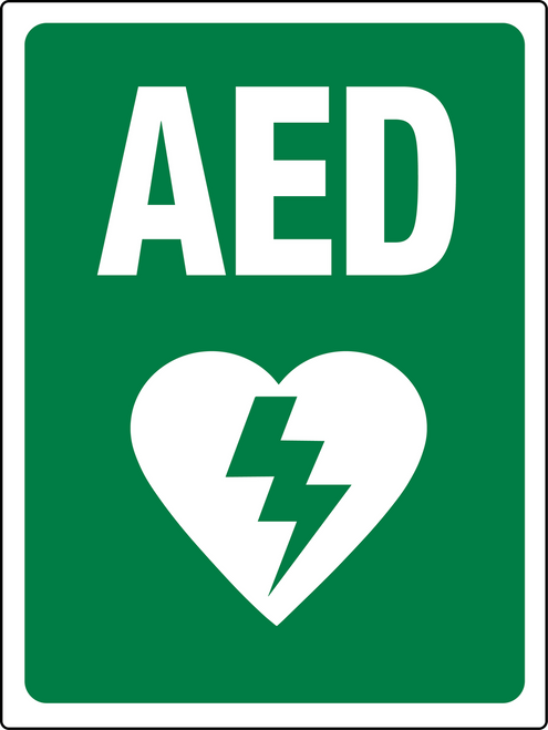 Aed Sign Green And White Wall Sign