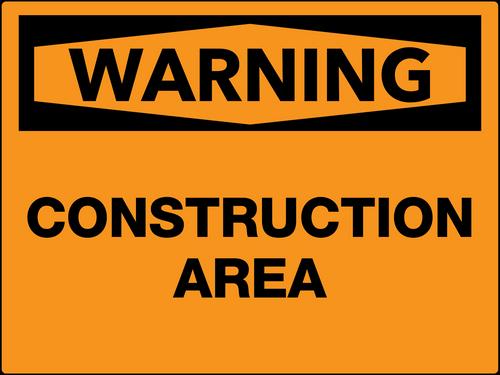 Warning Construction Area Wall Sign