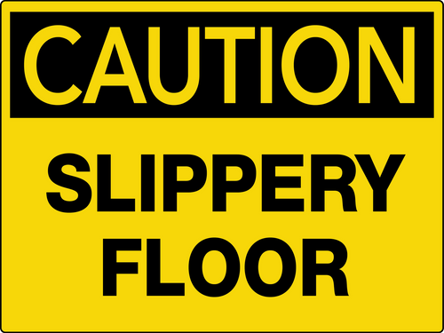Caution Slippery Floor Wall Sign