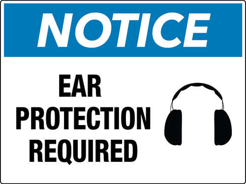 Notice Ear Protection Required Wall Sign