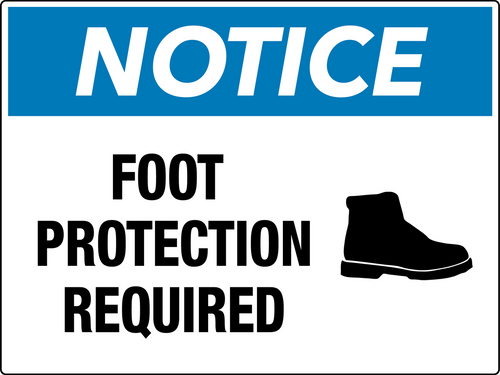 Notice Foot Protection Required Wall Sign