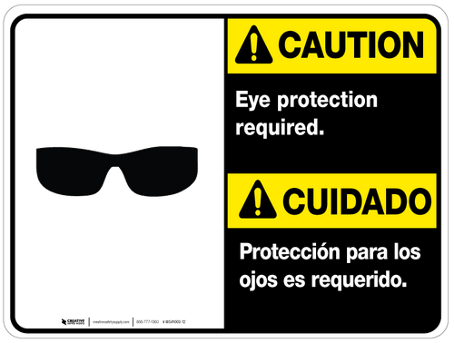 ANSI- Caution: Eye Protection Required - Wall Sign