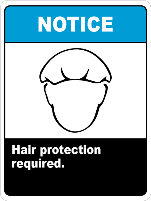 Notice Hair Protection Required - Floor Sign