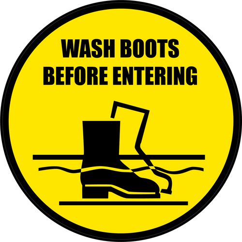 Wash Boots Before Entering Floor Sign Version 1