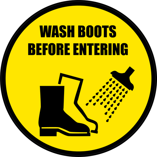 Wash Boots Before Entering Floor Sign Version 2