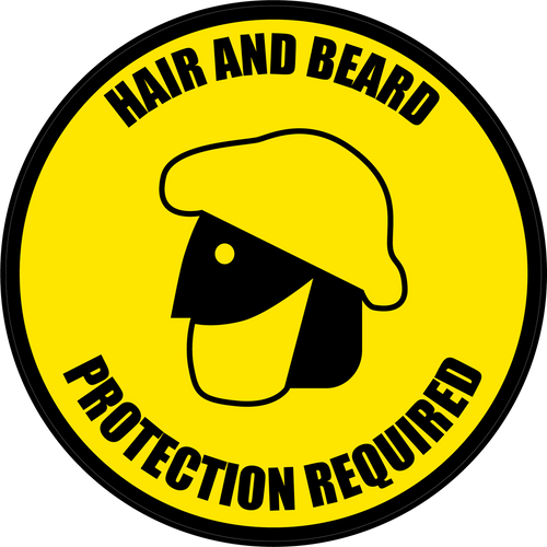 Hair and Beard Protection Required Floor Sign (Version 3)