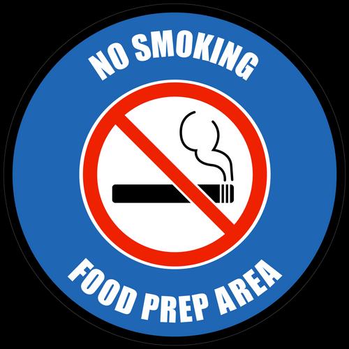 No Smoking - Food Prep Area Floor Sign