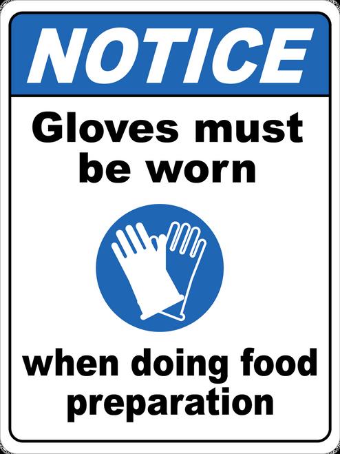 Notice - Gloves Must Be Worn During Food Prep Floor Sign