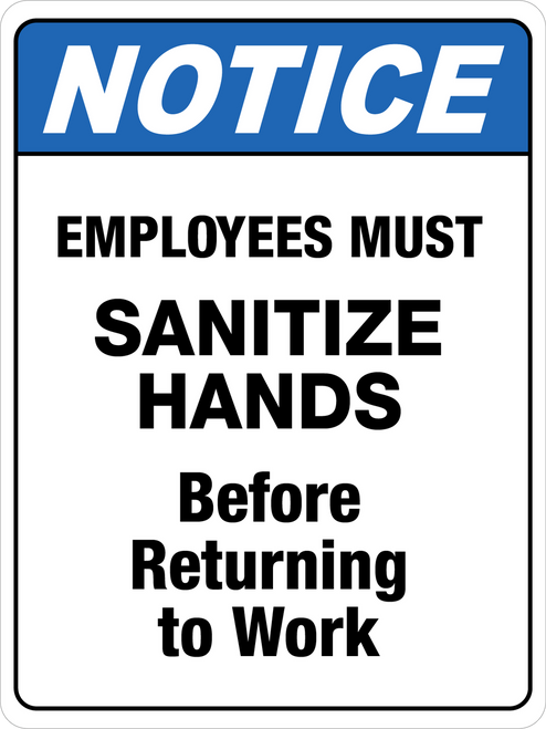 Notice - Employees Must Sanitize Hands Floor Sign