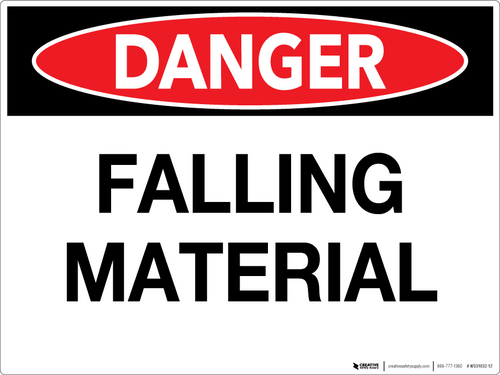 Danger: Falling Material Wall Sign