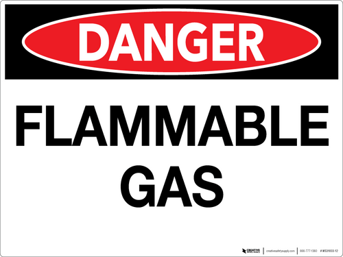 Danger: Flammable Gas - Wall Sign
