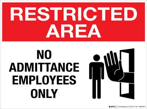 Restricted Area: No Admittance Employees Only - Wall Sign