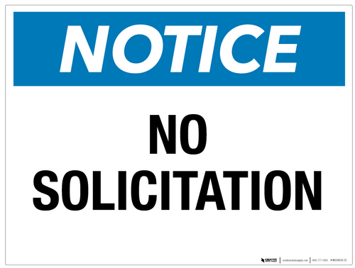 Notice: No Solicitation - Wall Sign