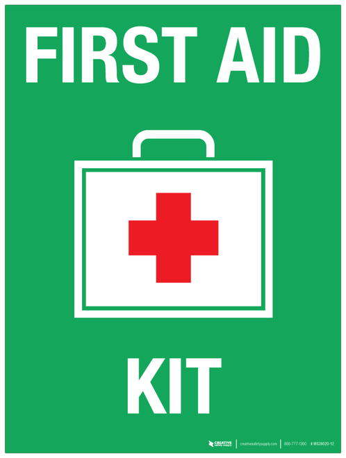 First Aid Kit With Red Cross Wall Sign