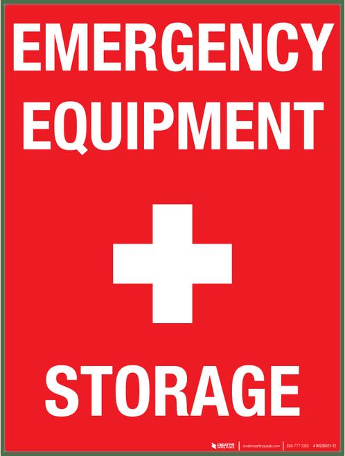 Emergency Equipment Storage Wall Sign