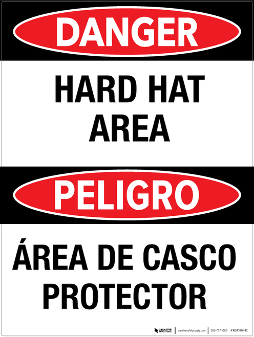 Danger: Hard Hat Area - Bilingual Wall Sign