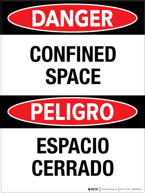 Danger: Confined Space - Bilingual Wall Sign
