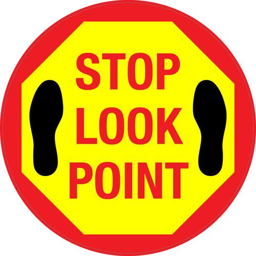 Stop Look Point Floor Sign