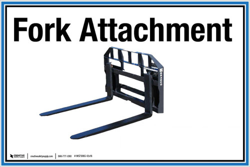 """Wall Sign: (UR) Fork Attachment - 12""""x18"""" (Peel-and-Stick Permanent Adhesive)"""