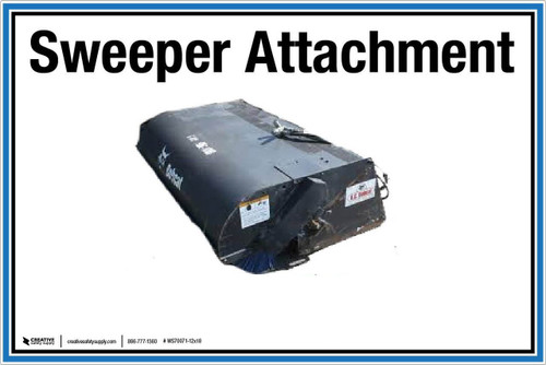 """Wall Sign: (UR) Sweeper Attachment - 12""""x18"""" (Peel-and-Stick Permanent Adhesive)"""