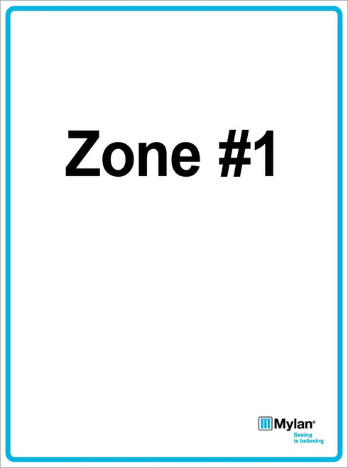 """Wall Sign: (Mylan Logo) Zone #1 15""""x20"""" (Mounted on 3mm PVC) Double Sided"""