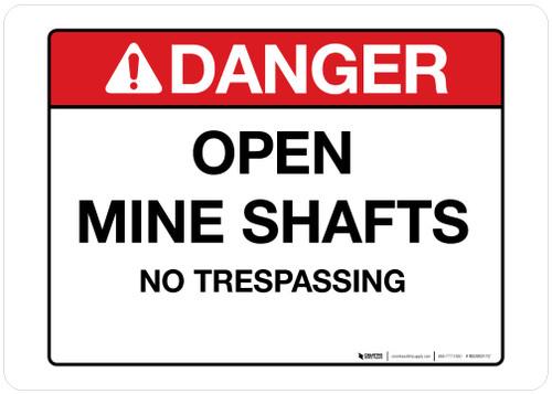 Danger - Open Mine Shafts - Wall Sign