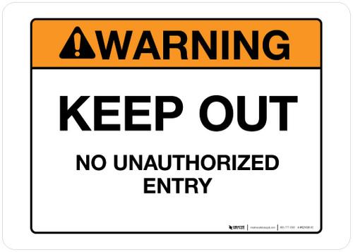 Warning - Keep Out - Wall Sign