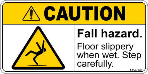 ANSI Label - CAUTION Fall Hazard, Slippery When Wet