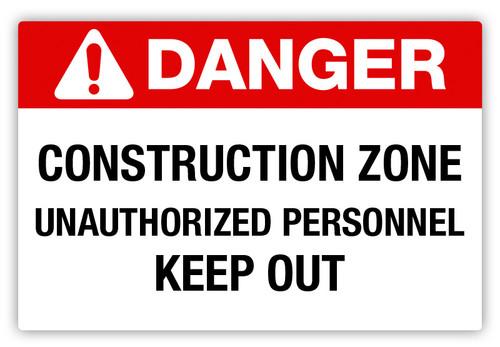 Danger- Construction Zone Label