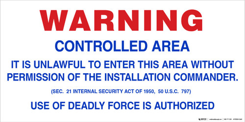 Floor Sign - Military Entrance Warning