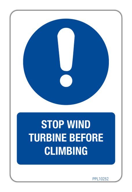 Stop Wind Turbine Before Climbing Label PPL 10252
