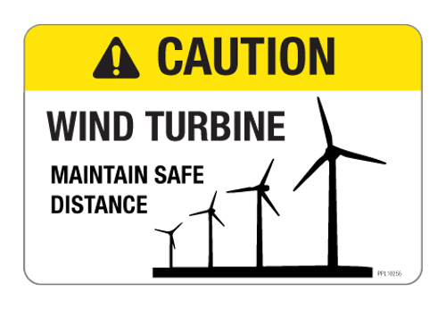 Caution - Wind Turbine Label