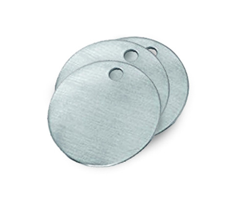 Round aluminum valve tags