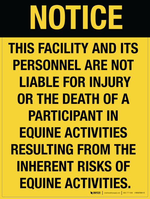 Equestrian Liability - Wall Sign