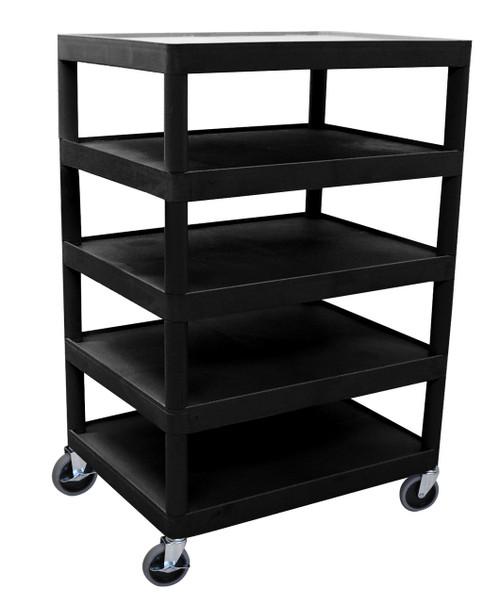 Luxor Five Flat Shelf Black Utility Cart