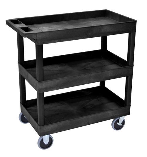Luxor HD High Capacity 3 Tub Shelves Cart in Black
