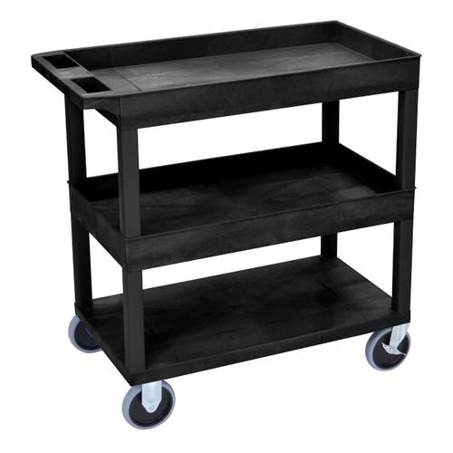 Luxor HD High Capacity 2 Tub and 1 Flat Shelf Cart in Black