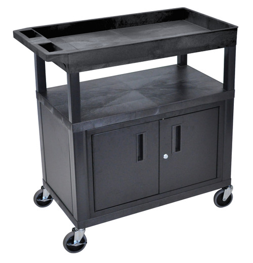 Luxor High Capacity 2 Flat and 1 Tub Shelf Cart W/ Cabinet & Electric in Black