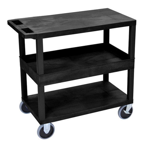 Luxor Black EC212HD 18x32 Cart with 2 Flat/1Tub Shelves