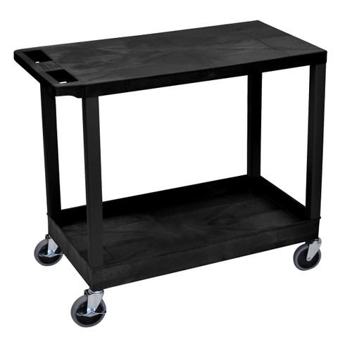 Luxor Black EC21 18x32 Cart with 1 Tub Shelf with 1 Flat Shelf
