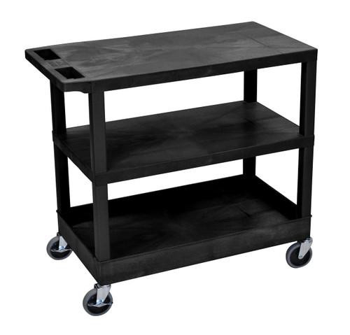 Luxor Black EC221-B 18x32 Cart 2 Flat/1 Tub Shelves