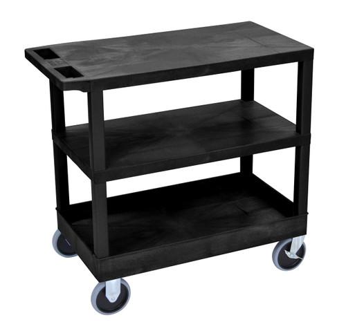 Luxor Black EC221HD-B 18x32 Cart 2 Flat/1 Tub Shelves
